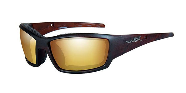 "Wiley X ""Tide"", Polarized Gold Mirror, Hickory Brown Frame"