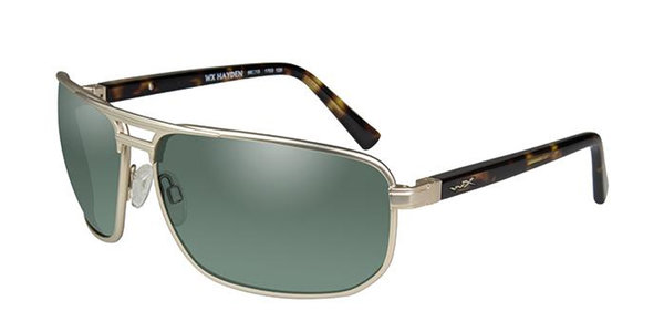 "Wiley X ""Hayden"", Polarized Green Mirror, Satin Gold Frame"